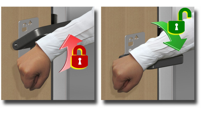 Hands free locking and unlocking of the restroom privacy lock